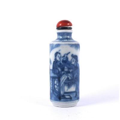 Tabatière Chinoise En Porcelaine Bleu Et Blanc, XIXème Siècle