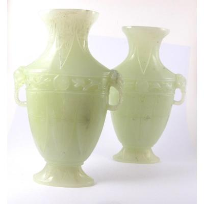 Pair Of Baluster Vases In Hard Stone