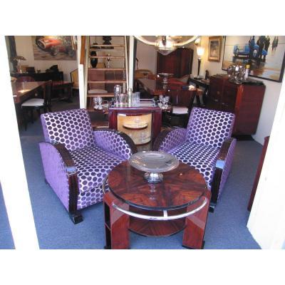 Art Deco Club Armchairs In Macassar Ebony
