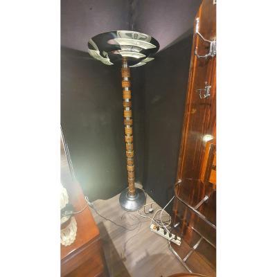 Art Deco Walnut And Chrome Floor Lamp