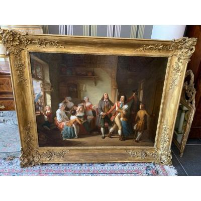 Large Painting Signed C. Mayer 1841 Departure For The War