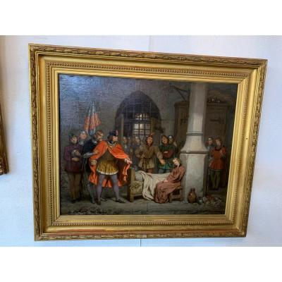 Tableau Jeanne d'Arc En Prison d'après Gillot Saint Evre