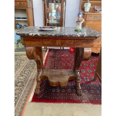Small Console Louis Philippe Lion Paws Mahogany 85 Cm