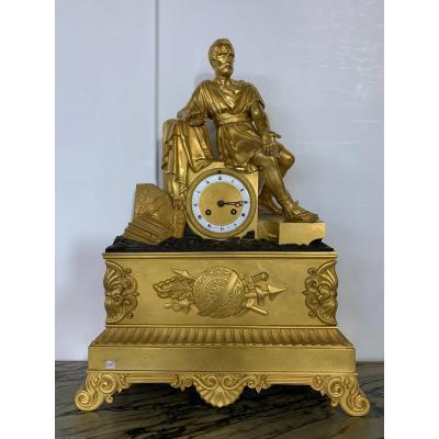 Pendule Directoire En Bronze Doré 52 Cm