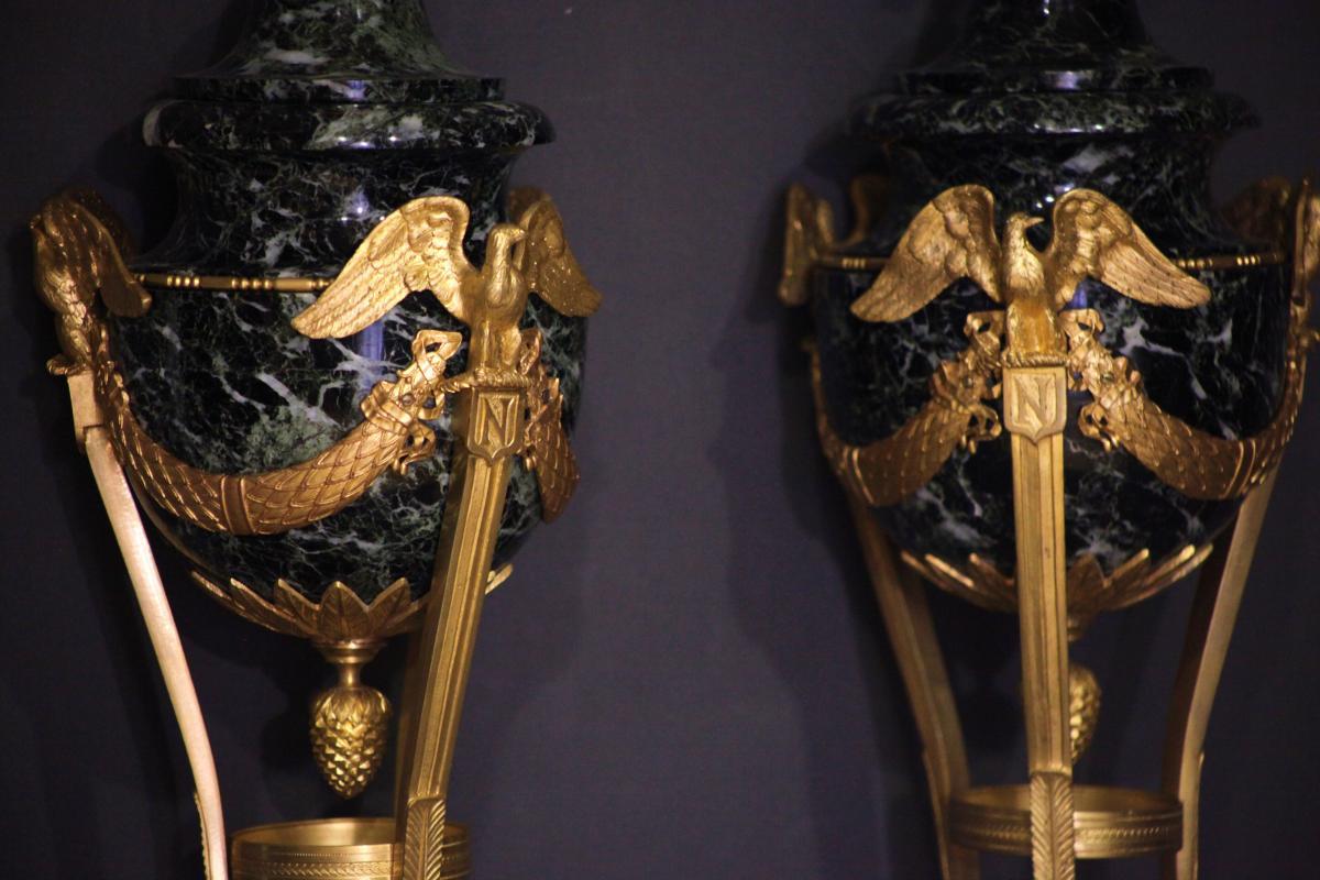 Paire de Cassolettes en Marbre et Bronze Doré - Epoque 1er Empire