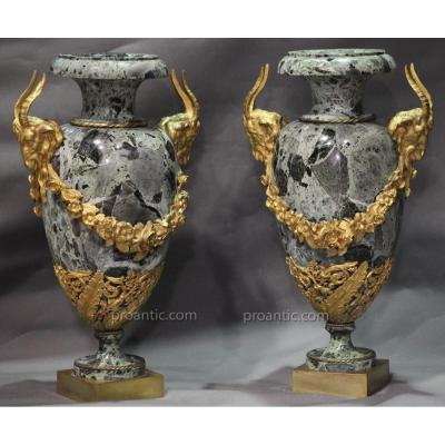 Paire de GRANDS Vases, Pots, Cassolettes en Marbre Vert Antique, Monture Bronze