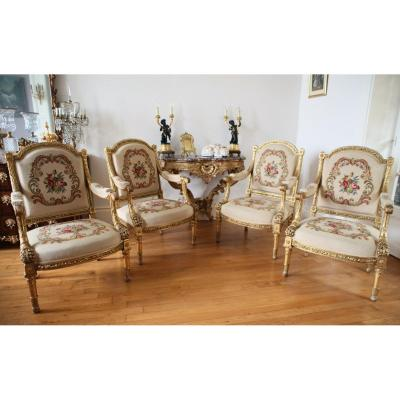 Suite Of 4 Armchairs In The Queen - Louis XVI Model Jacob
