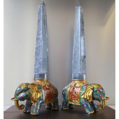Paire d'éléphants en Bronze Cloisonné et Marbre - H60cm