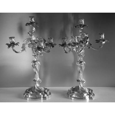 BOIN TABURET Paire de Candélabres  Bronze Argenté H51cm