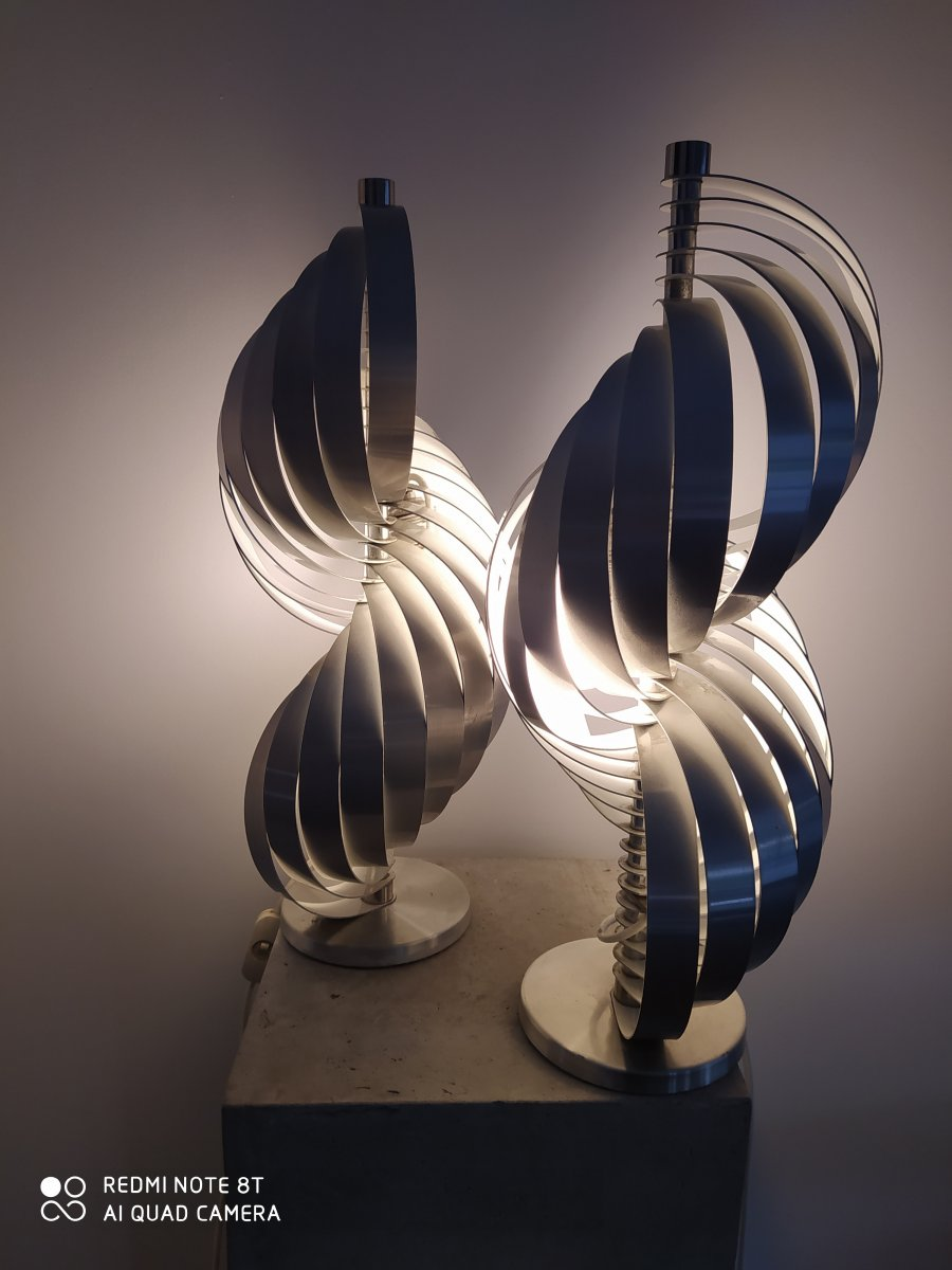 Pair Of Metal Lamps By Mathieu