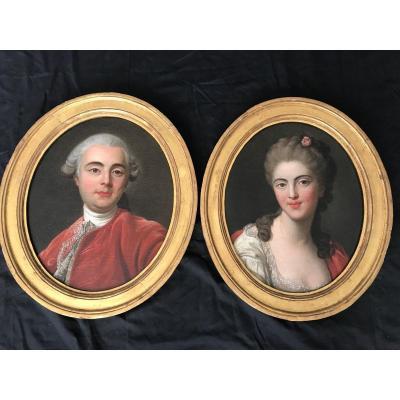 Pair Of XVIIIth Portraits.
