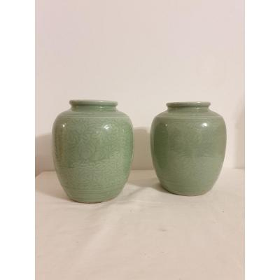 China - Pair Of Vases - 19 Cm