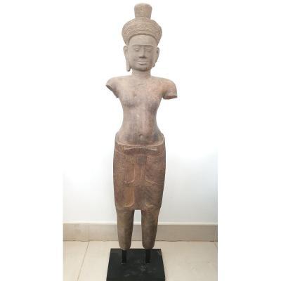 Art Khmer - Sculpture En Grès - 10ème Siècle - 98 Cm