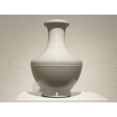 Grand Vase En Porcelaine Craquelée Blanche