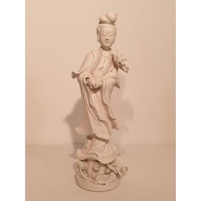 Guanyin En Porcelaine Blanc De Chine
