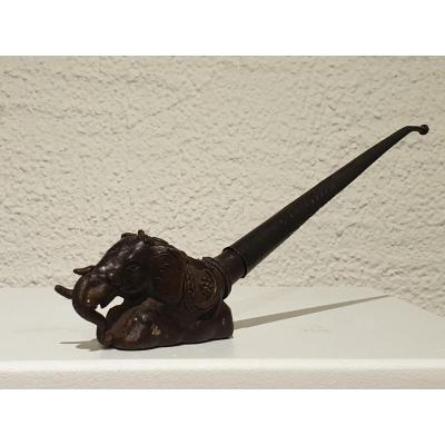 Pipe à Opium En Bronze - éléphant