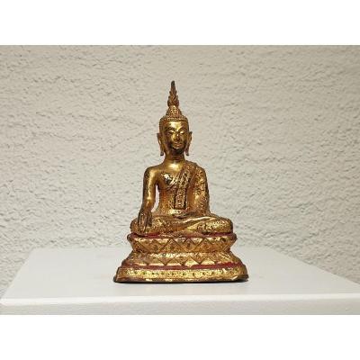 Bouddha Thaï En Bronze Doré