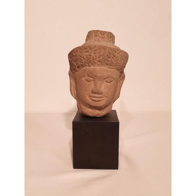 Khmer - Tête En Grès - 15 cm