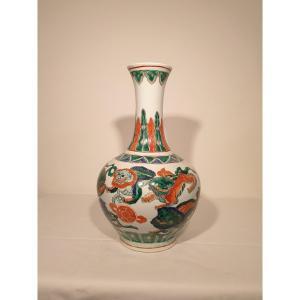 Chine - Vase En Porcelaine Polychrome - 39 Cm