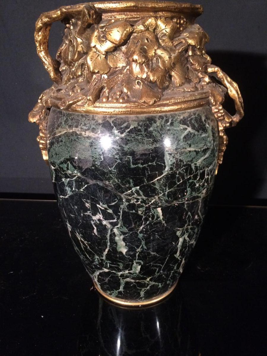 Marionnet(1852-1910) Grand Vase Marbre Et Bronze Doré