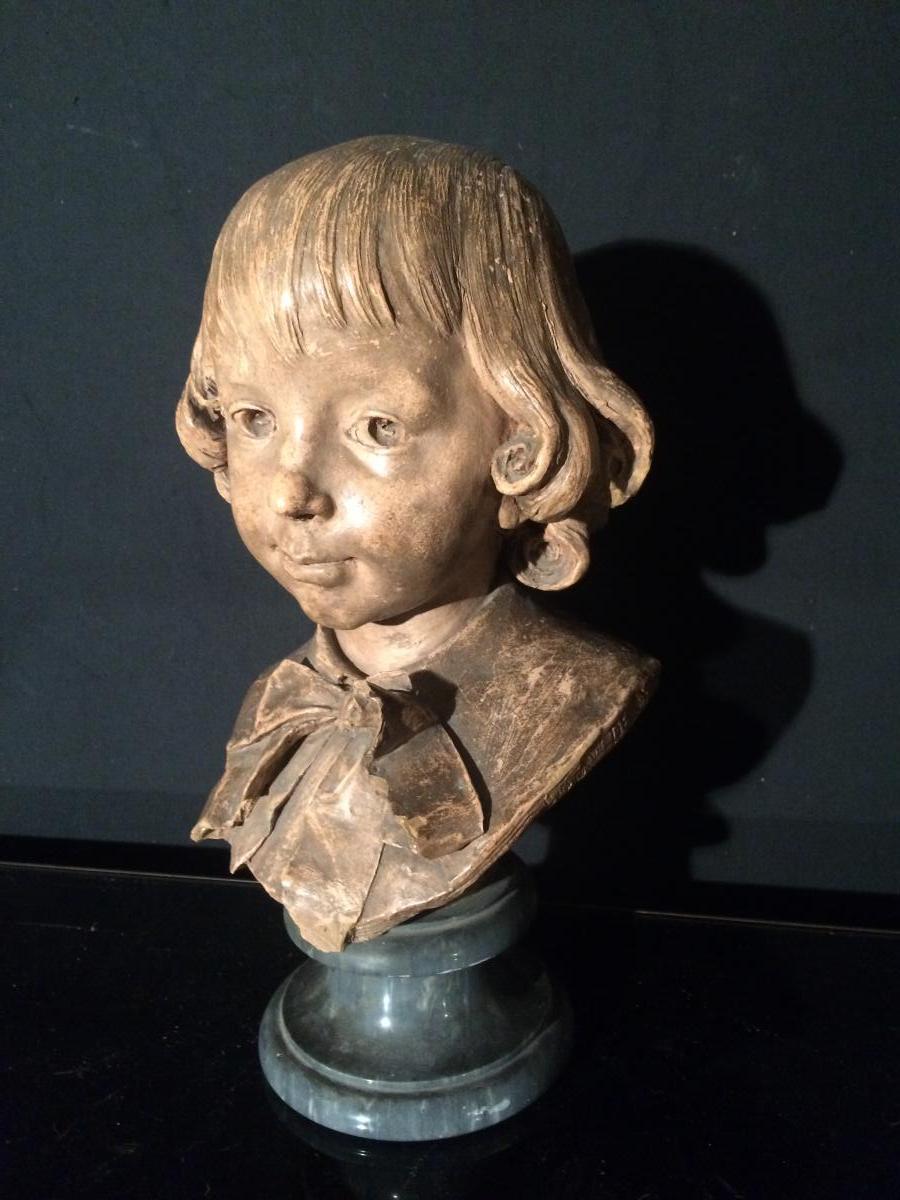 Gustave Deloye(1838-1899) Tête D Enfant En Terre Cuite