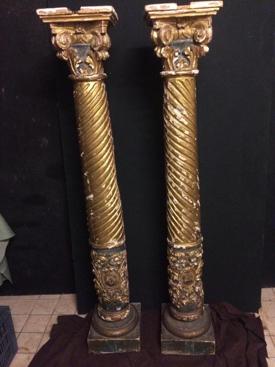 Torso Columns In Gilded Wood And Armoriees XVIth, XVIIth