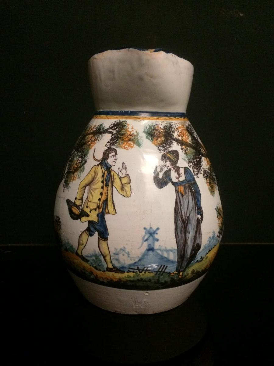 Nevers? Large Wedding Pitcher With Sceneries Of A Gallant Couple Dated March 28, 1823