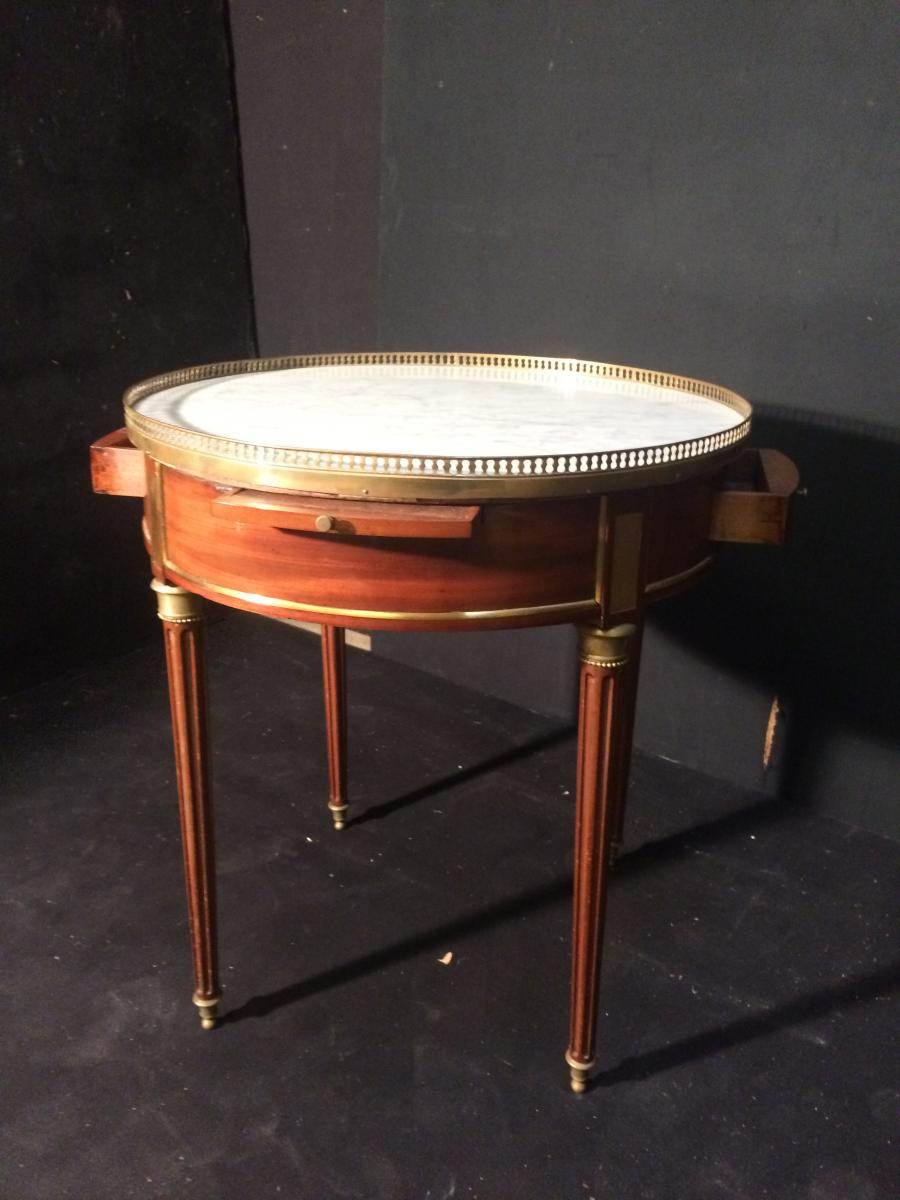 Table Bouillotte En Acajou Et Marbre Blanc
