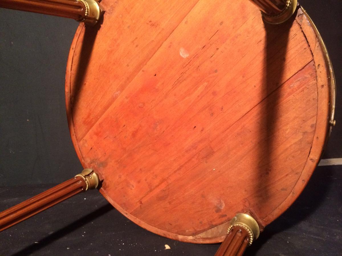 Table Bouillotte En Acajou Et Marbre Blanc-photo-2