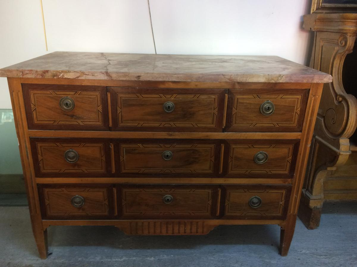 Chest In Marquetry Rosewood And Walnut XVIIIeme