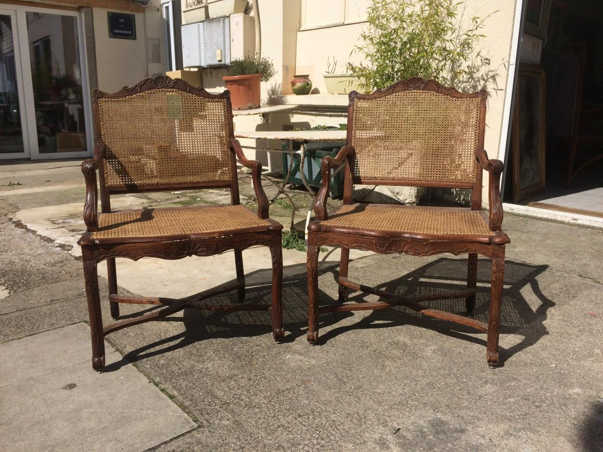 Pair Of Cane Armchairs In Beech