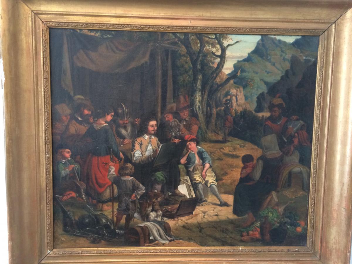 Paire De Tableaux Représentant Le Théâtre Et La Peinture