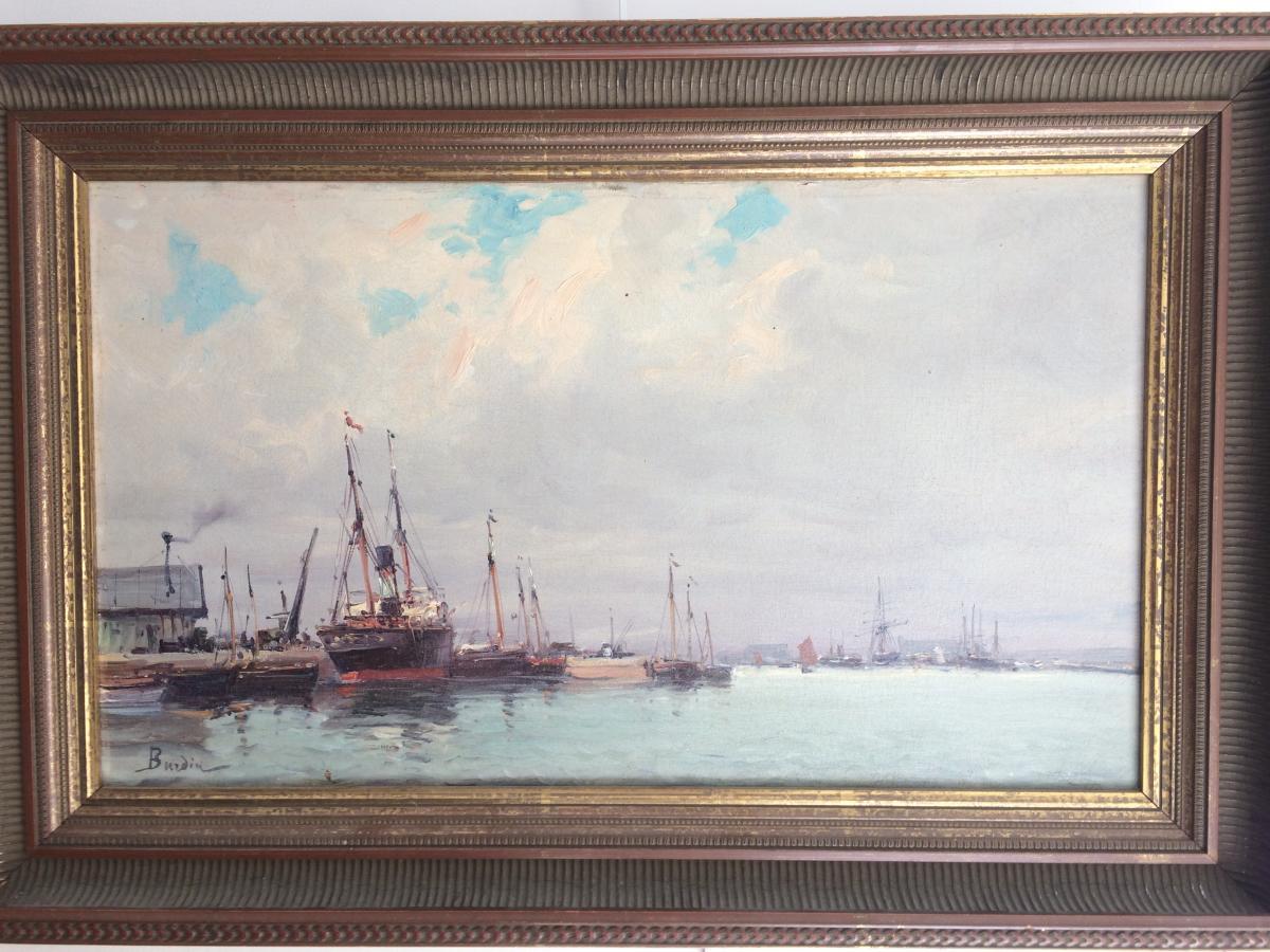 """""""port d'Honfleur"""" Signé Burdin"""