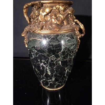 Marionnet (1852-1910) Large Vase Marble And Gilt Bronze