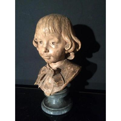 Gustave Deloye (1838-1899) Child's Head Of Terracotta