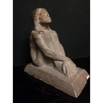A. Joltkevitch (1872-1943) Seated Girl, Sculpture Stucco, Cement, Plaster?