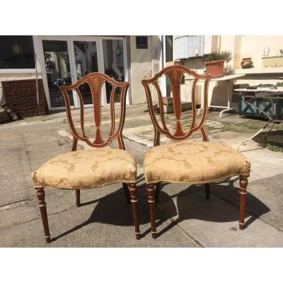 Pair Of Large Chairs In Cherry