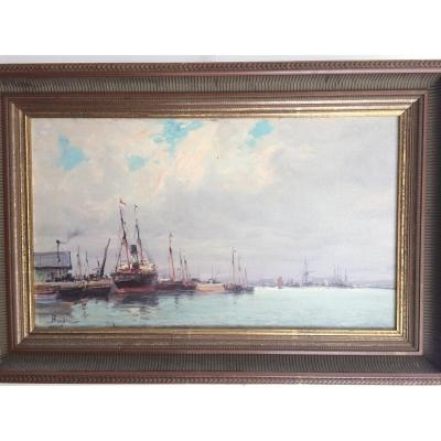 """port Of Honfleur"" Signed Burdin"