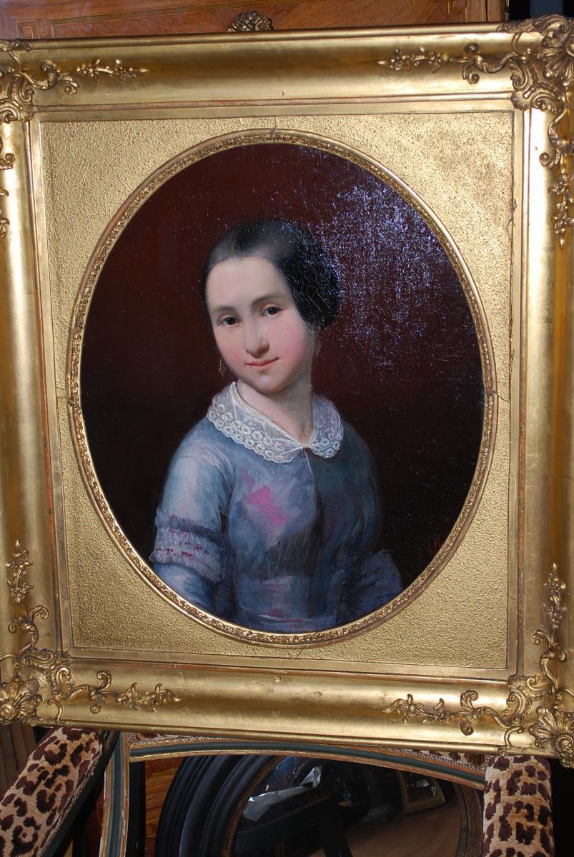 Portrait De Jeune Fille Signée De C  Elb