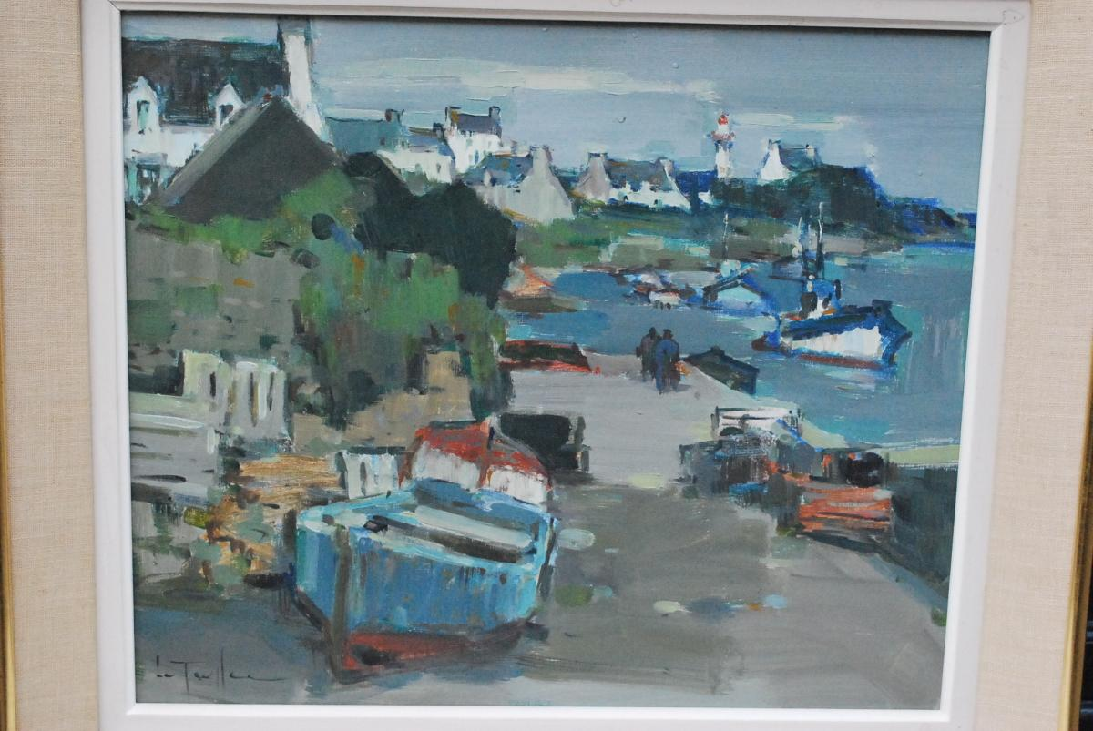 Boats In Low Tide In Brittany Signed De Le Toulbec