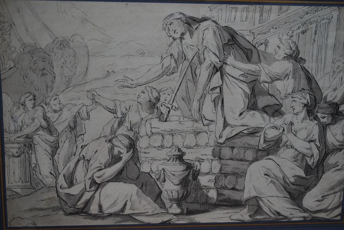 Dessin à La Plume : La Mort De Didon , Travail Début XVIII