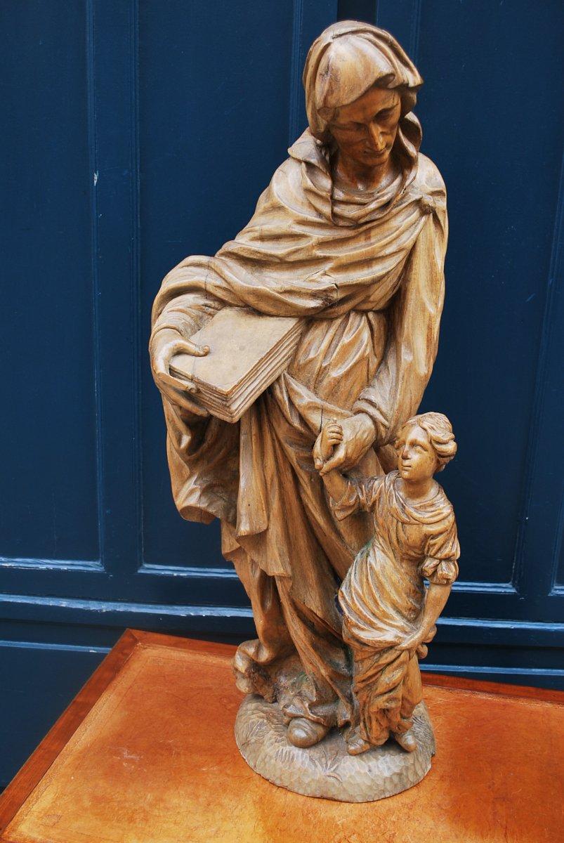 Sculpture En Bois Naturel Saint Anne Et La Vierge , XVII