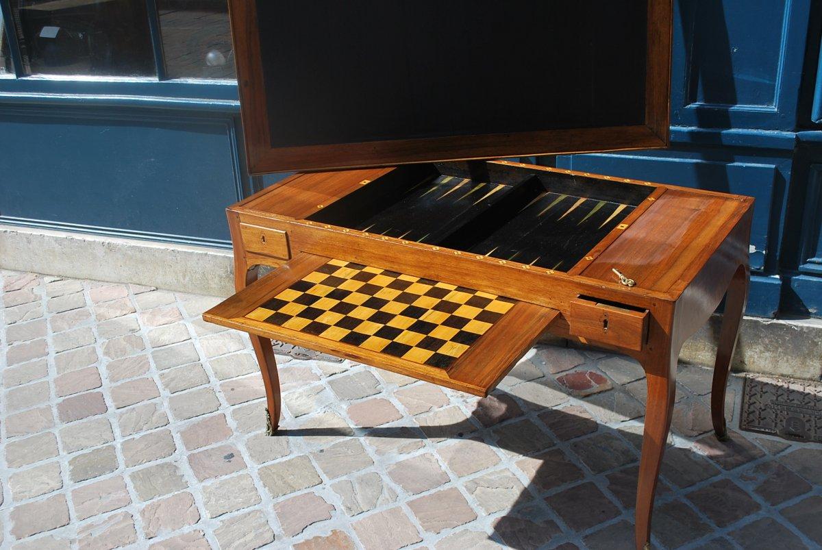 Table à Jeux Tric Trac En Noyer époque Louis XV .estampille De Ancelet-photo-2