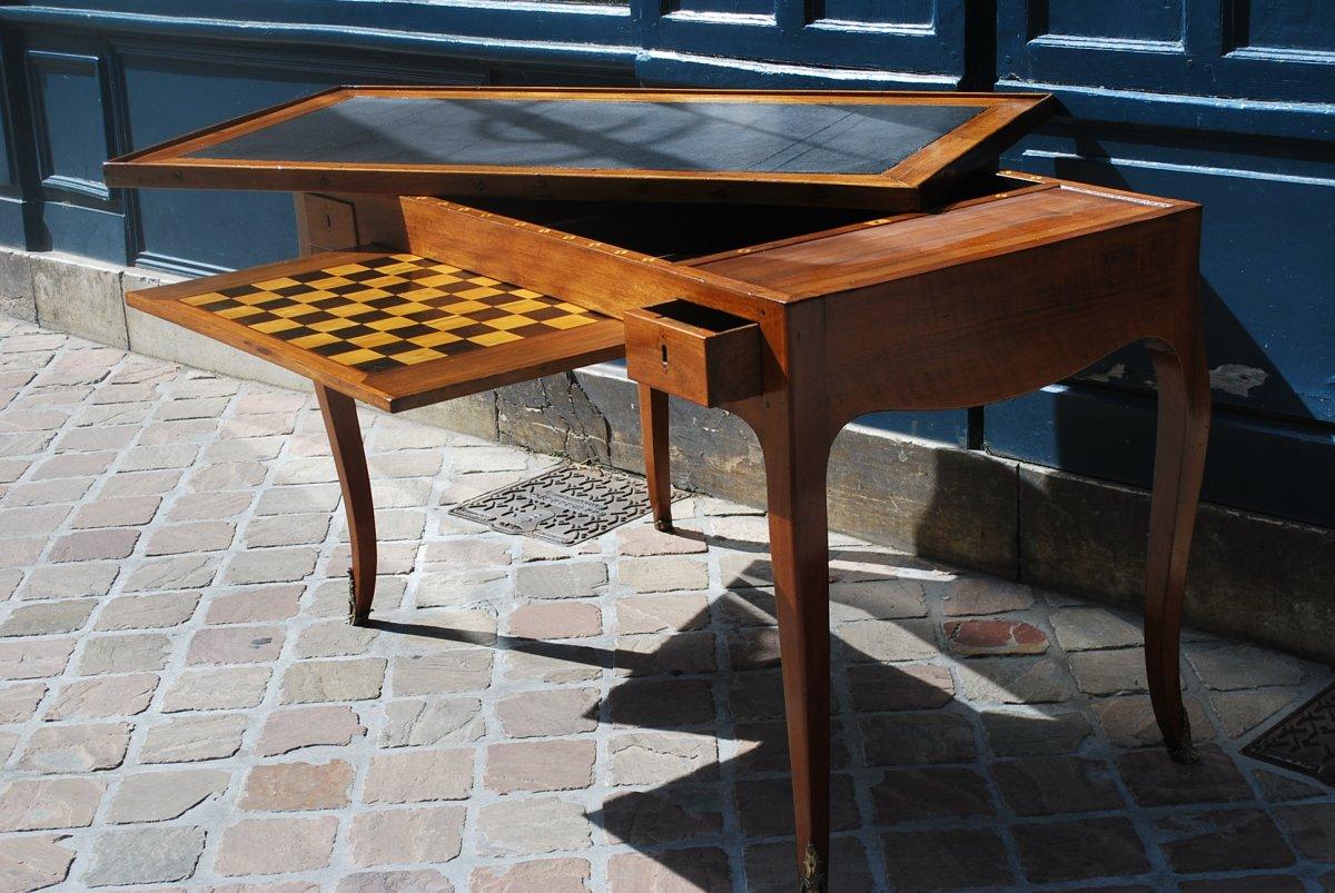 Table à Jeux Tric Trac En Noyer époque Louis XV .estampille De Ancelet-photo-4