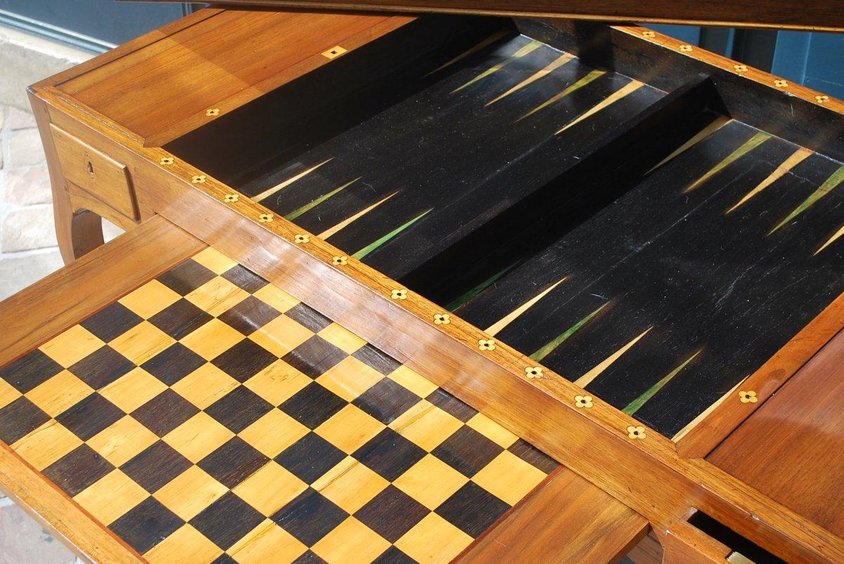 Table à Jeux Tric Trac En Noyer époque Louis XV .estampille De Ancelet-photo-8