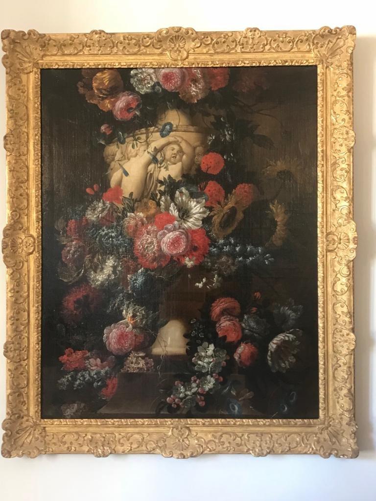 Important Bouquet Of Flowers In A Vase Signed By Jean Baptiste Booschaert, Flanders XVIII