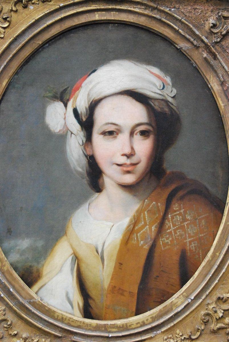 Portrait D Une Jeune Femme Au Turban  XIX d après Murillo-photo-4
