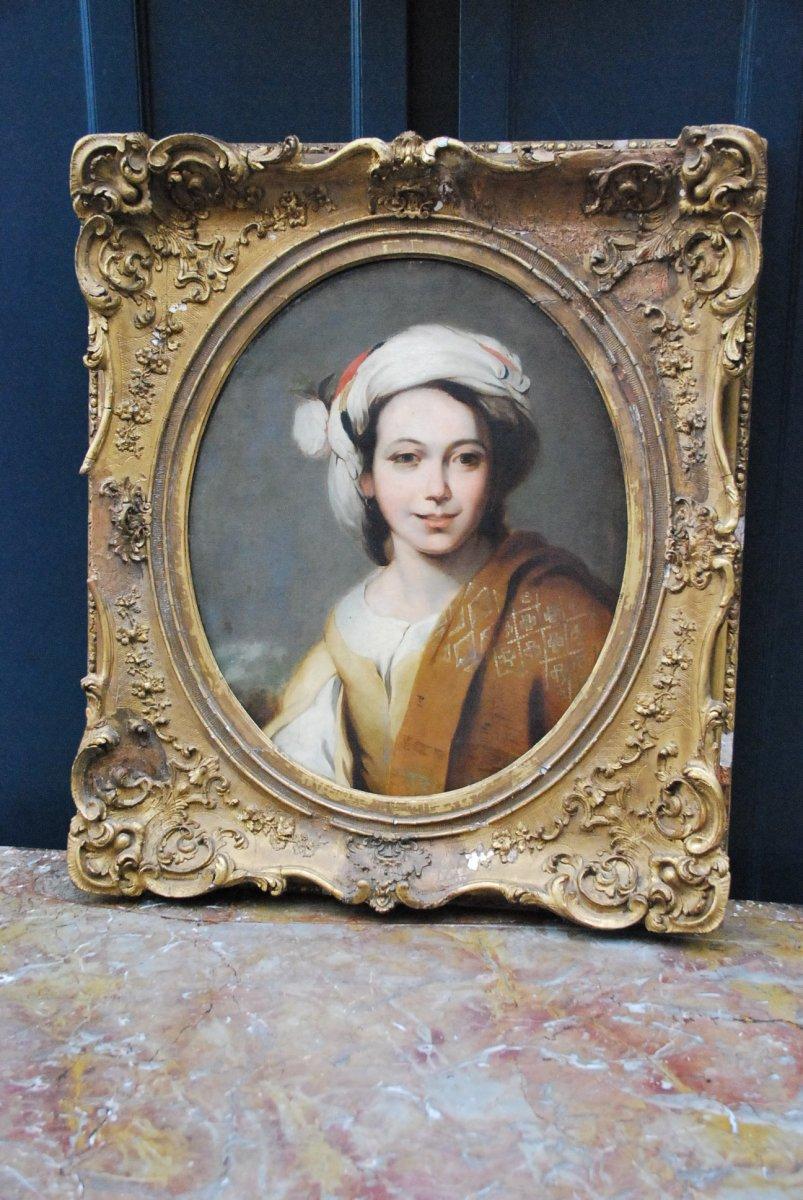 Portrait D Une Jeune Femme Au Turban  XIX d après Murillo-photo-1