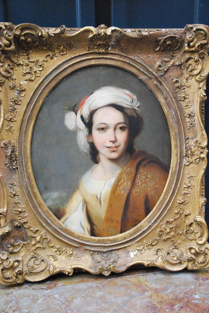 Portrait D Une Jeune Femme Au Turban  XIX d après Murillo-photo-5
