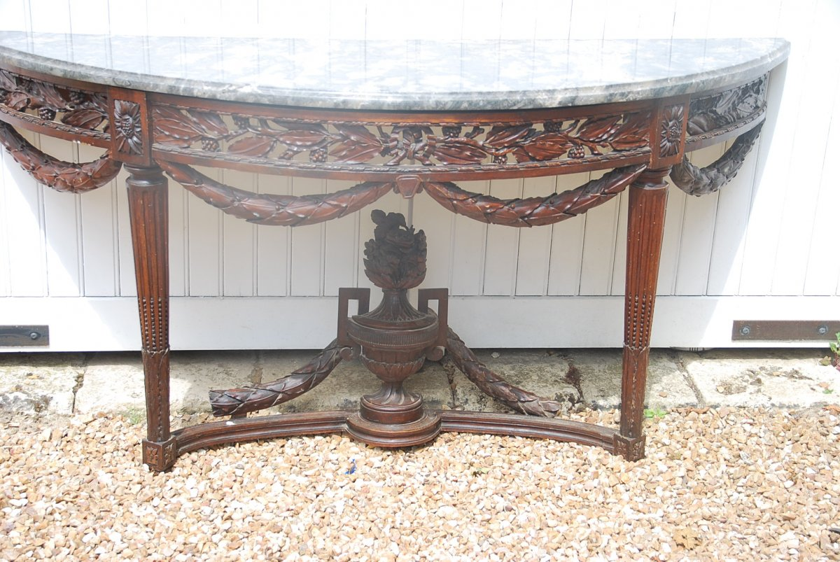 Grande Console En Noyer Naturel Provence époque Louis XVI